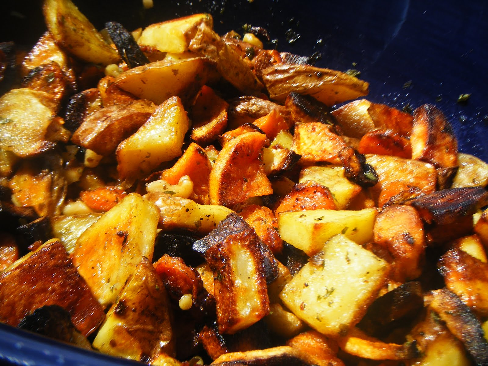 ... oven-roasted ROOTS vegetables and garlic — perfect for a cold winter